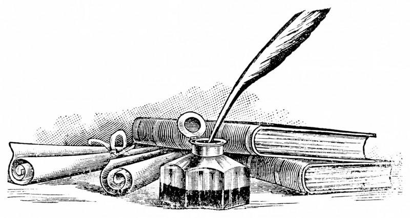 перьевая рчка и чернильница