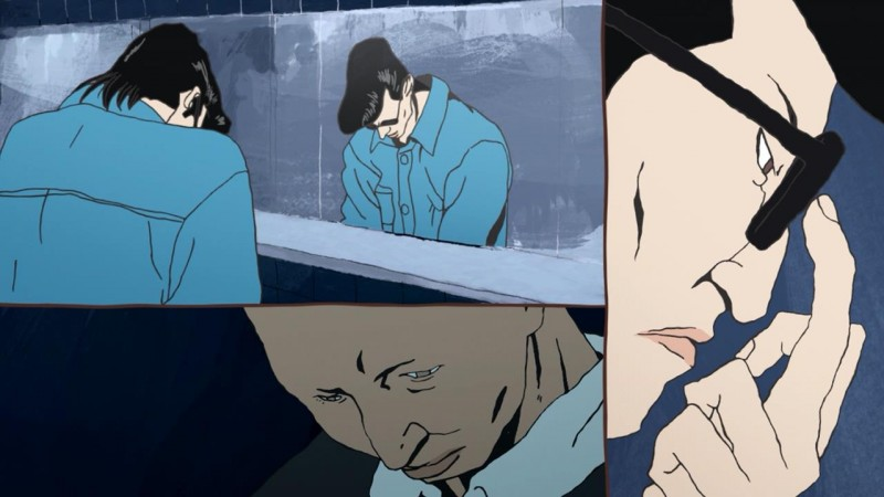 ping-pong-the-animation-ryuuichi-kazama-dragon-manabu-sakuma-demon-akuma-bathroom-restroom-mirror-stall-talk-glasses-push