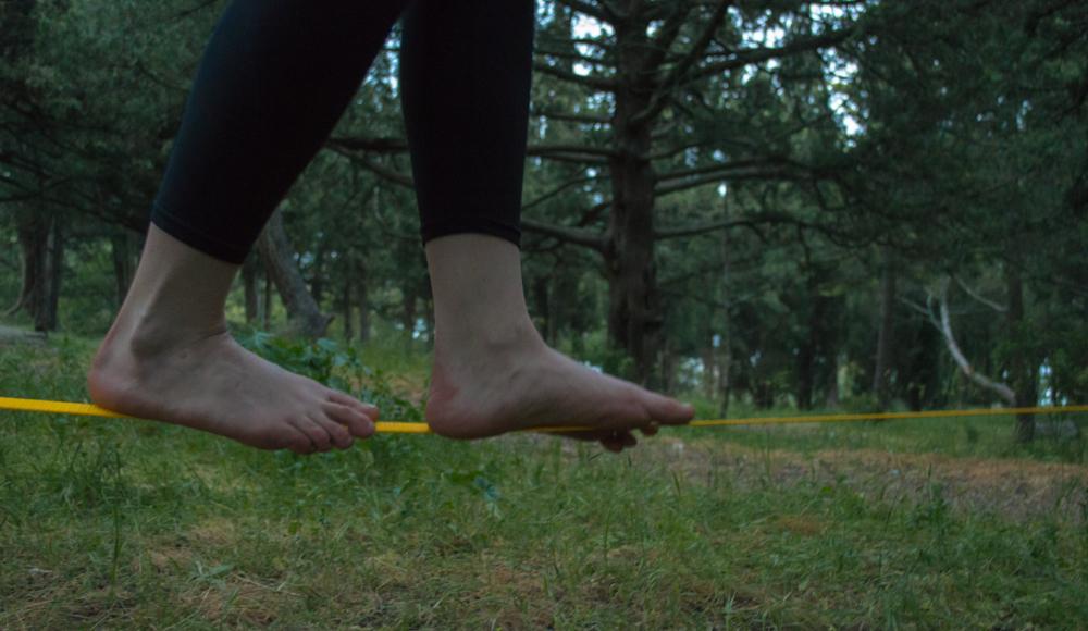 ноги на стропе