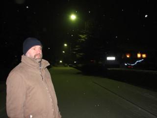 Igor and a tiny snowfall. Camera made it look more intense.