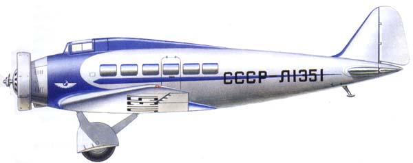 ХАИ-1 - первого в СССР скоростного пассажирского самолета с убирающимися в полете шасси.