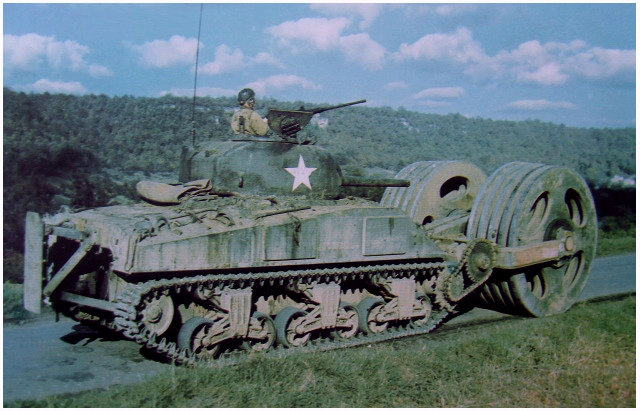 A T1E3 of the 6th Armored Division in action