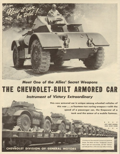 Chevrolet Manufacturing in Flint also made aircraft engine parts and the Staghound armored ca