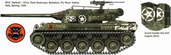M18 Hellcat, 701 батальон истребителей танков, долина реки По, Италия, весна 1945.