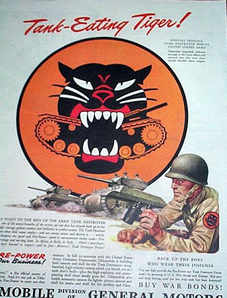 1944 WWII OLDSMOBILE - ARMY TANK DESTROYER FORCES Tank Eating Tiger