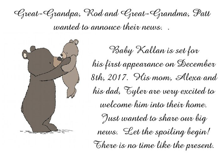 Great-granparents announcement