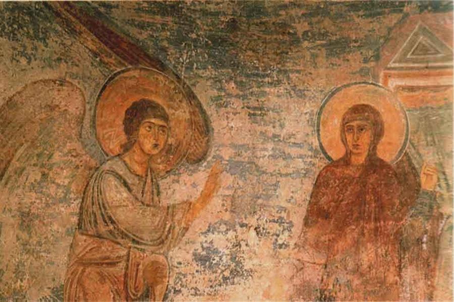 1040-1060 Благовещение. Фреска Софийского собора в Киеве