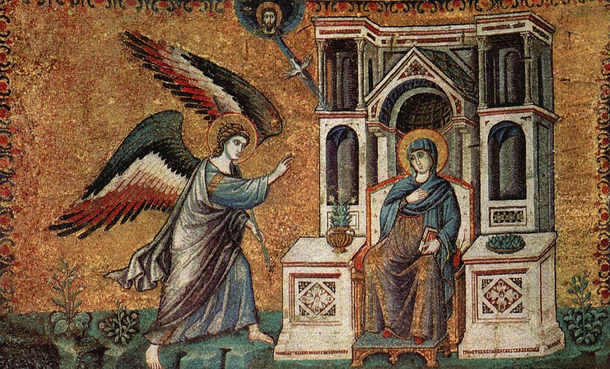 1220-1240 Мозаика в церкви Санта-Мария-ин-Трастевере в Риме