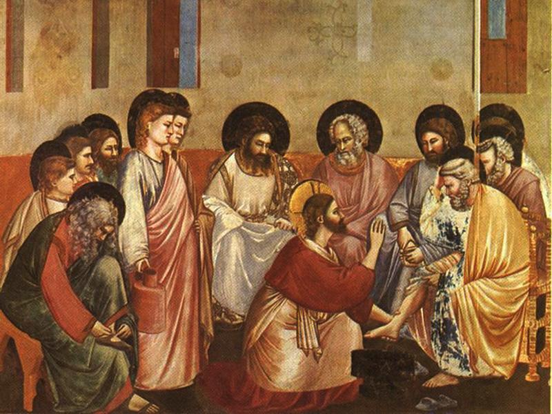Джотто ди Бондоне. Христос умывает ноги Петру