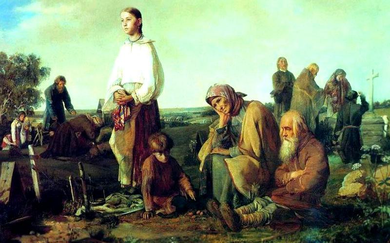 Алексей Корзухин. Поминки на деревенском кладбище (1865)