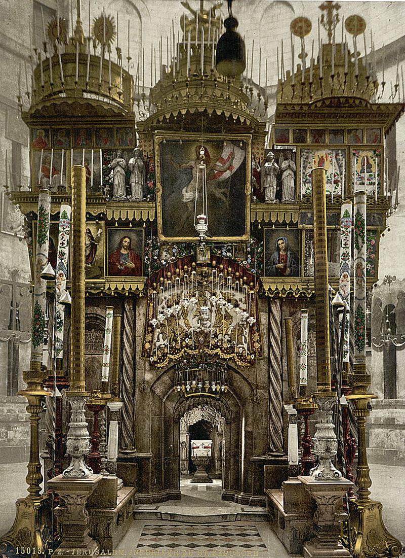 Цветное изображение Храма Гроба Господня начала XX века
