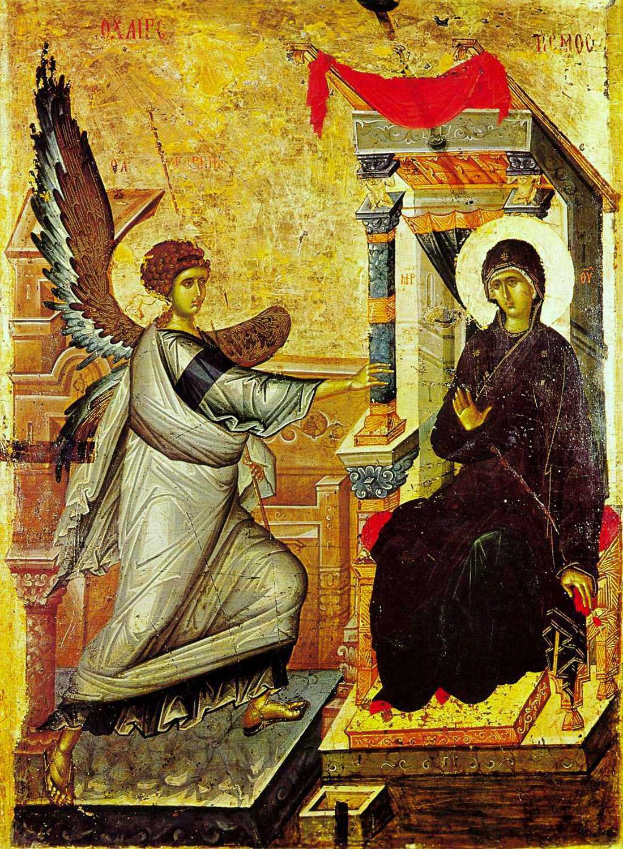 Благовещение. Византийская икона XIV века