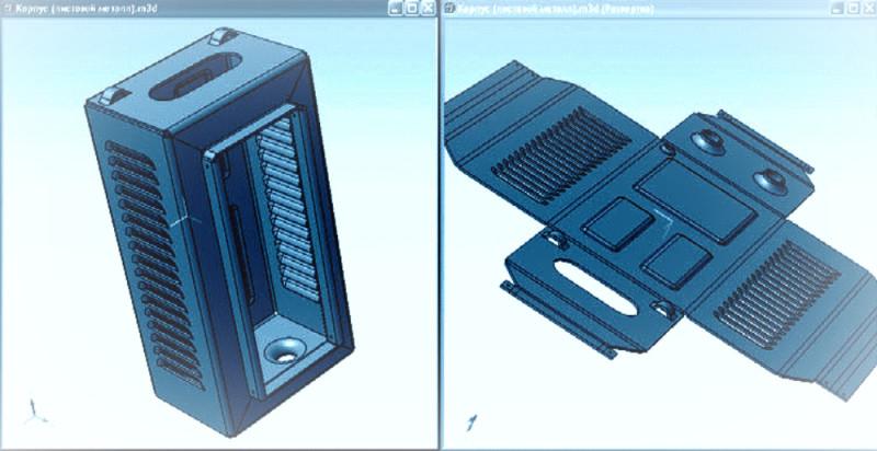 Пример листового корпуса с выполненными различными операциями на станке с ЧПУ.