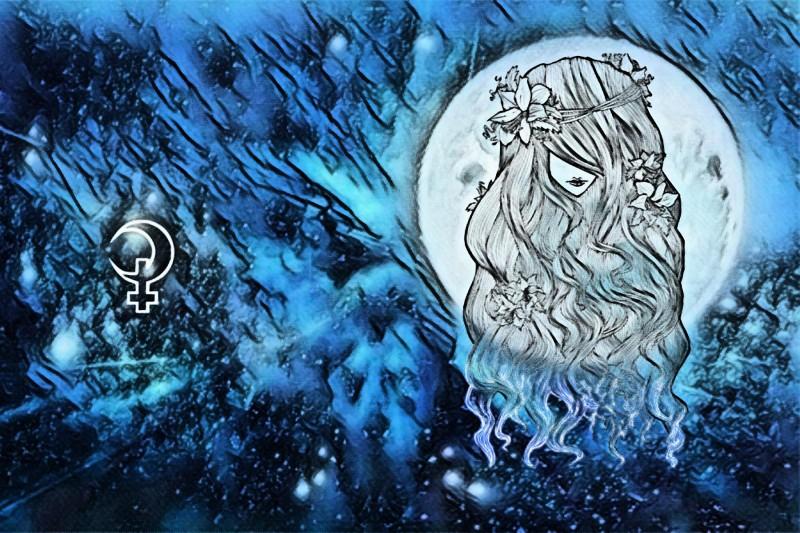 Селена. Твои локоны волос словно темная ночь с лунными бликами.
