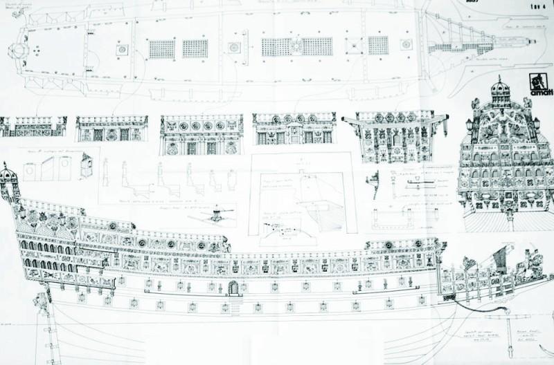 Британский шедевр, чертёж корабля Повелитель морей «Sovereign of the Seas» (1634), – и считается ныне самым роскошным и красивейшим судном парусной эпохи.