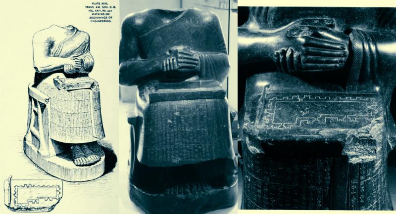 На статуе Гудея изображен первый известный технический чертёж 2130 г. до н.э.  Он нанесен на каменную табличку и изображает план этажа крепости Ирак. 2120 г. до н. Музей Лувра. Париж. Франция.