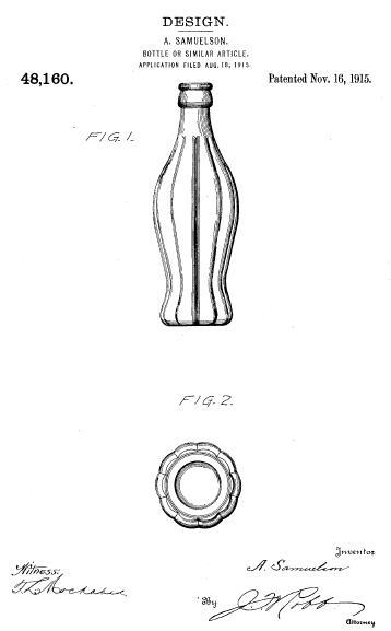 Патент США на конструкцию D48,160: оригинальный дизайн бутылки Coca-Cola