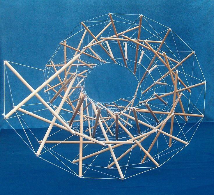 Меньшие структуры тенсегрити могут функционировать как компоненты сжатия или растяжения в большей системе тенсегрити.