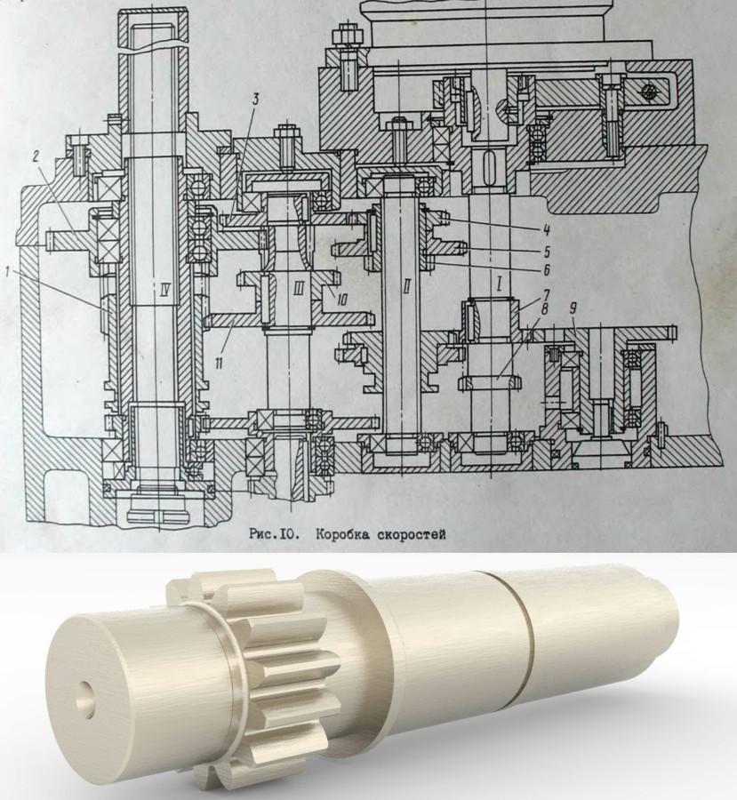Станок радиально-сверлильный с подъемно-поворотным столом 2532Л. Выполнен замер и изготовление чертежа вышедшей из строя вал-шестерни.