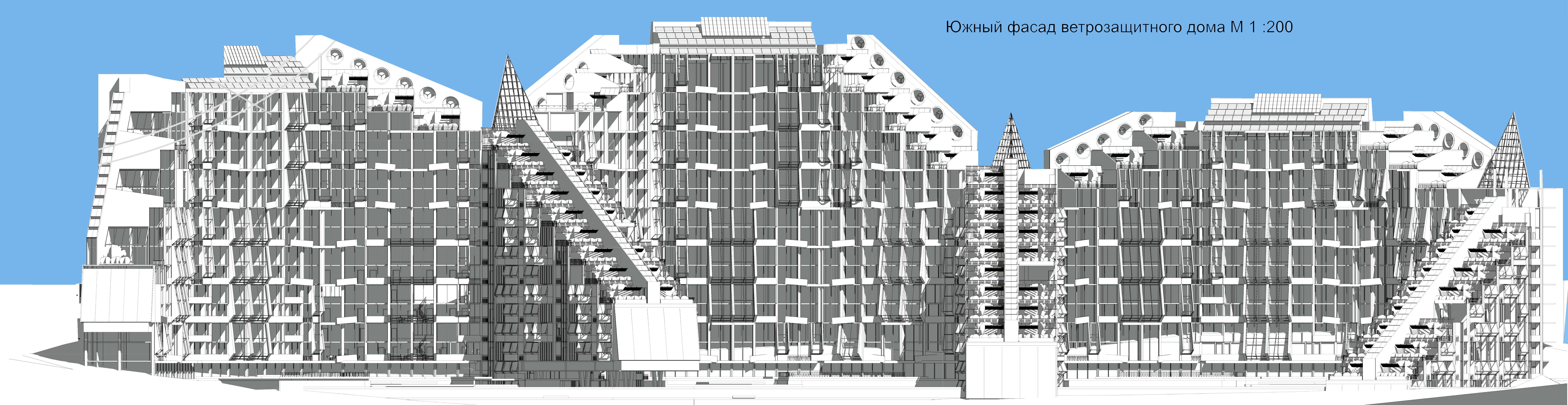 СРЕДА ОБИТАНИЯ ЭКОДОМА solar Ветрозащитные многоэтажные жилые здания еще одна актуальная тема для города В домах галерейного типа квартиры в два уровня смотрят на юг