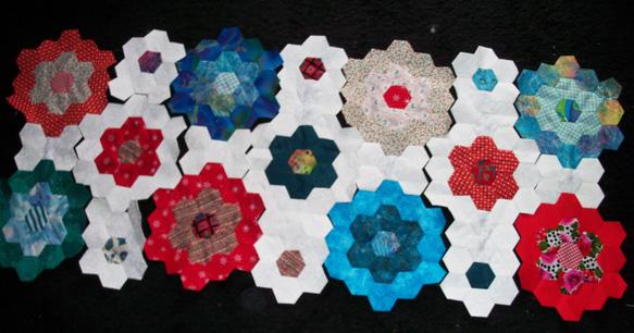 Hexi scrap quilt rows 1_2