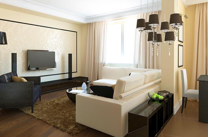 гостиная-студия в современном стиле, черный в интерьере, белый в интерьере, желтый в интерьере, современная гостиная, дизайн интерьера гостиной, ламинат на стенах, дизайнер интерьера Антон Печёный