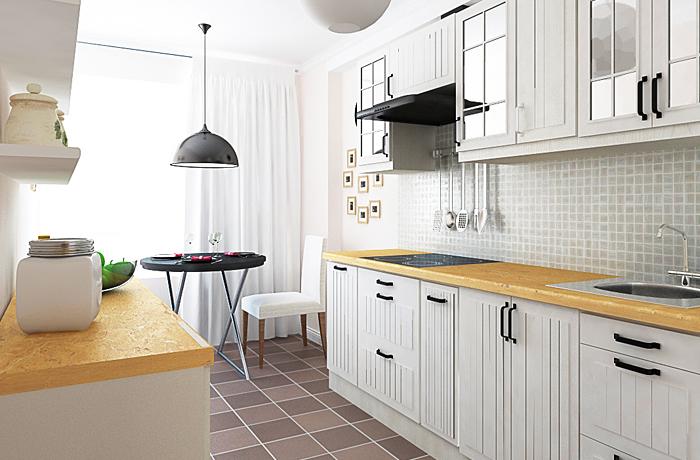 Спальня в скандинавском стиле кухня в