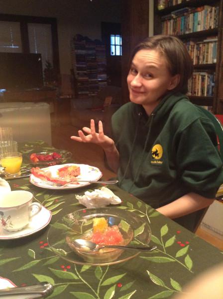 Fiona Christmas morning 2013