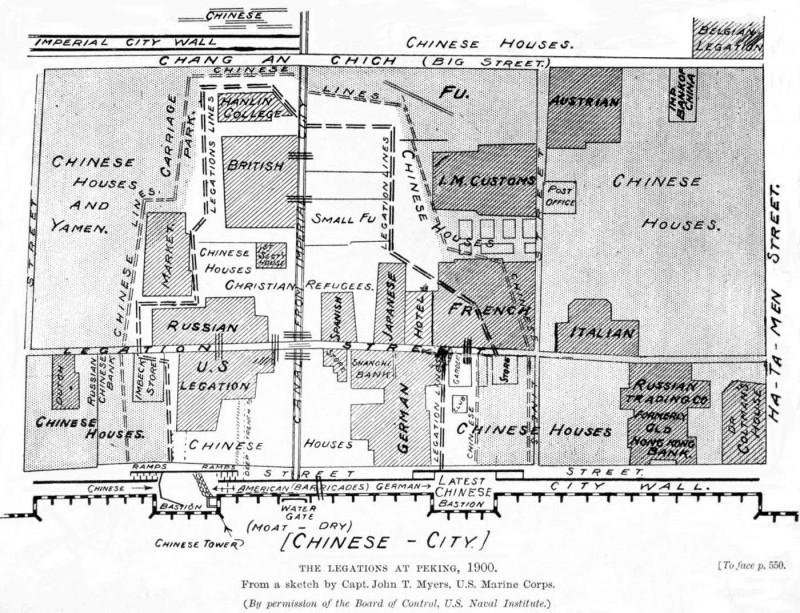 План-схема части Пекина, начерченный американским флотским капитаном Джоном Мейерсом. Хорошо видны экстерриториальные кварталы иностранцев.