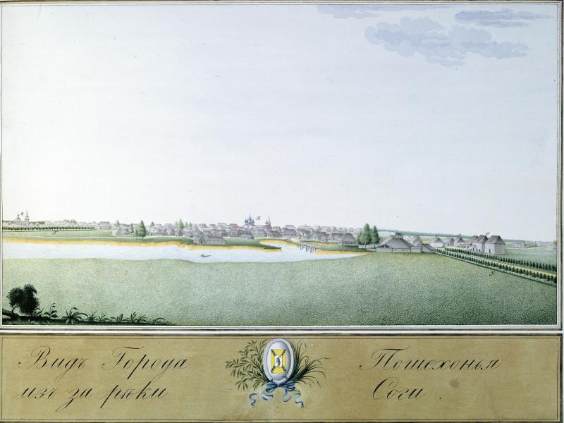 Вид города Пошехонье из-за реки Соги.