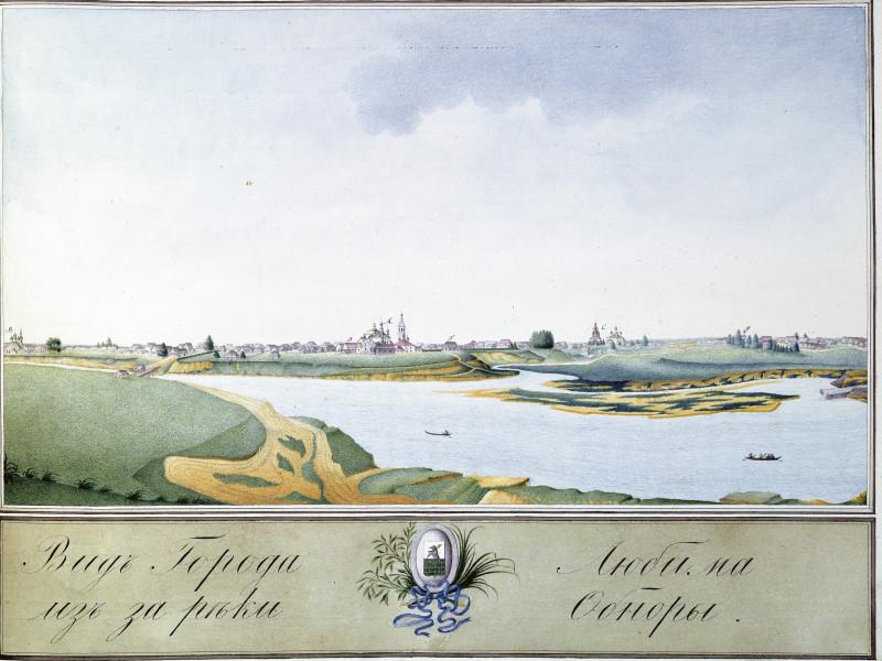 Вид города Любима из-за реки Обноры.