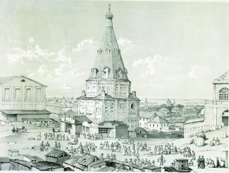 Казань. Гостиный  двор. Гравюра GB (?). Отпечатано у Лефевра. 1840 г.