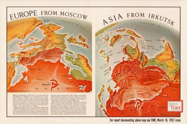 Р.М. Чапин. Вид на Европу из Москвы, На Азию из Иркутска.1952.3000x2000.jpg