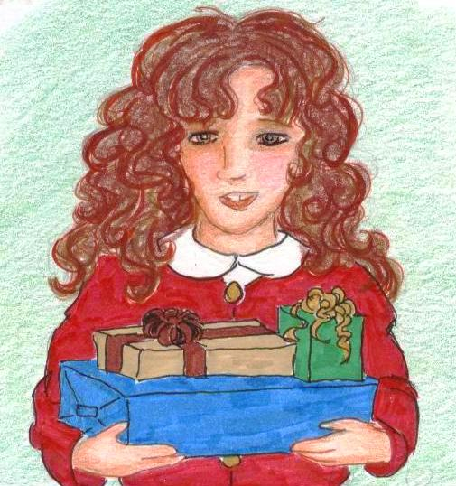Bucktoothed Hermione in a red sweater carries gifts