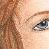 Blue eye and auburn brown