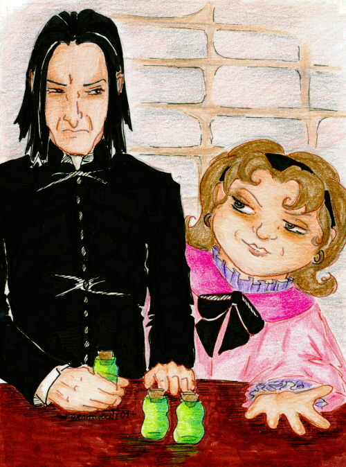 Snape warrily handing over three green vials to an eager Umbridge