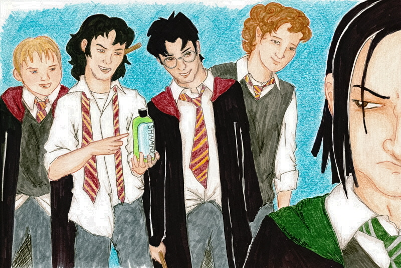 Peter and Reums flank Sirius and James, and all four are smirking or laughing. Sirius holds a bottle of shampoo while Snape scowls in the foreground.