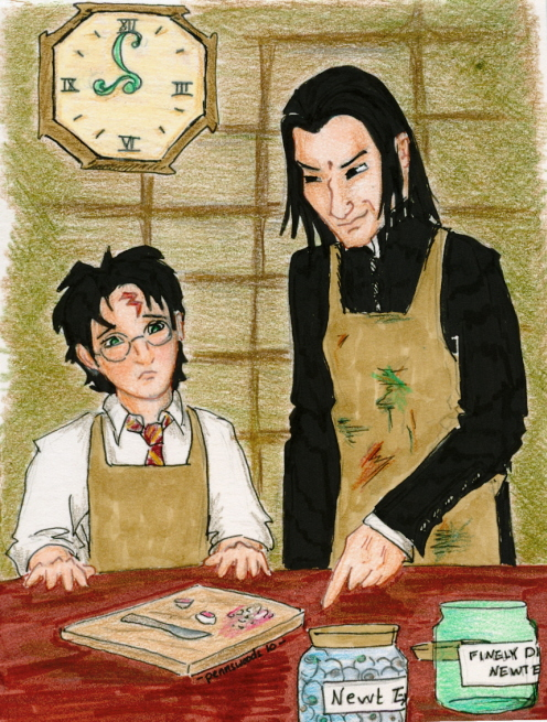Snape looms gleefully over a young Harry, who stares woefully at a cutting board, full jar of newt eyes and empty jar labeled finely diced newt eyes.