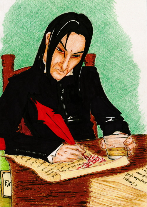Snape, a glass of firewhisky in hand, marks a 6 inch stack of essays.