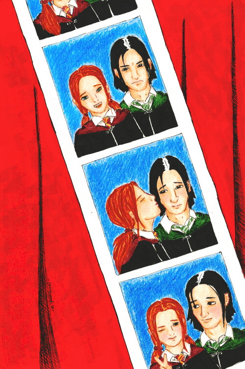 Strip of four photos of Lily and Severus.