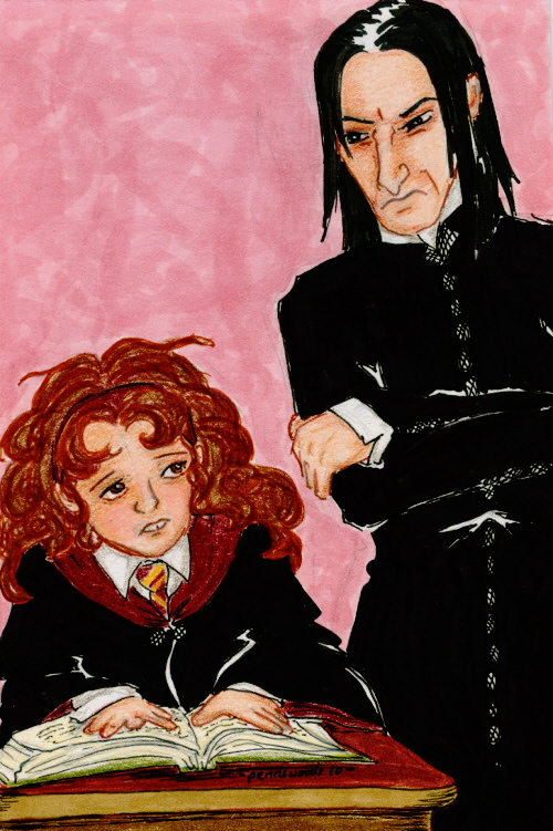 Snape glowers at a buck-toothed Hermione, who hunches miserably over an open book.