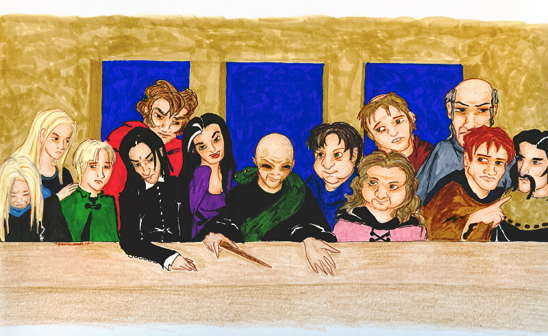 Voldemort sits at a table, surrounded by twelve of his followers. Snape sits in the Judas seat.