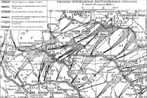Карта первого этапа Уманско-Ботошанской операции