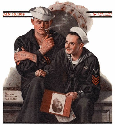 1919-01-18-saturday-evening-post-norman-rockwell-cover-sailor-dreaming-of-girlfriend