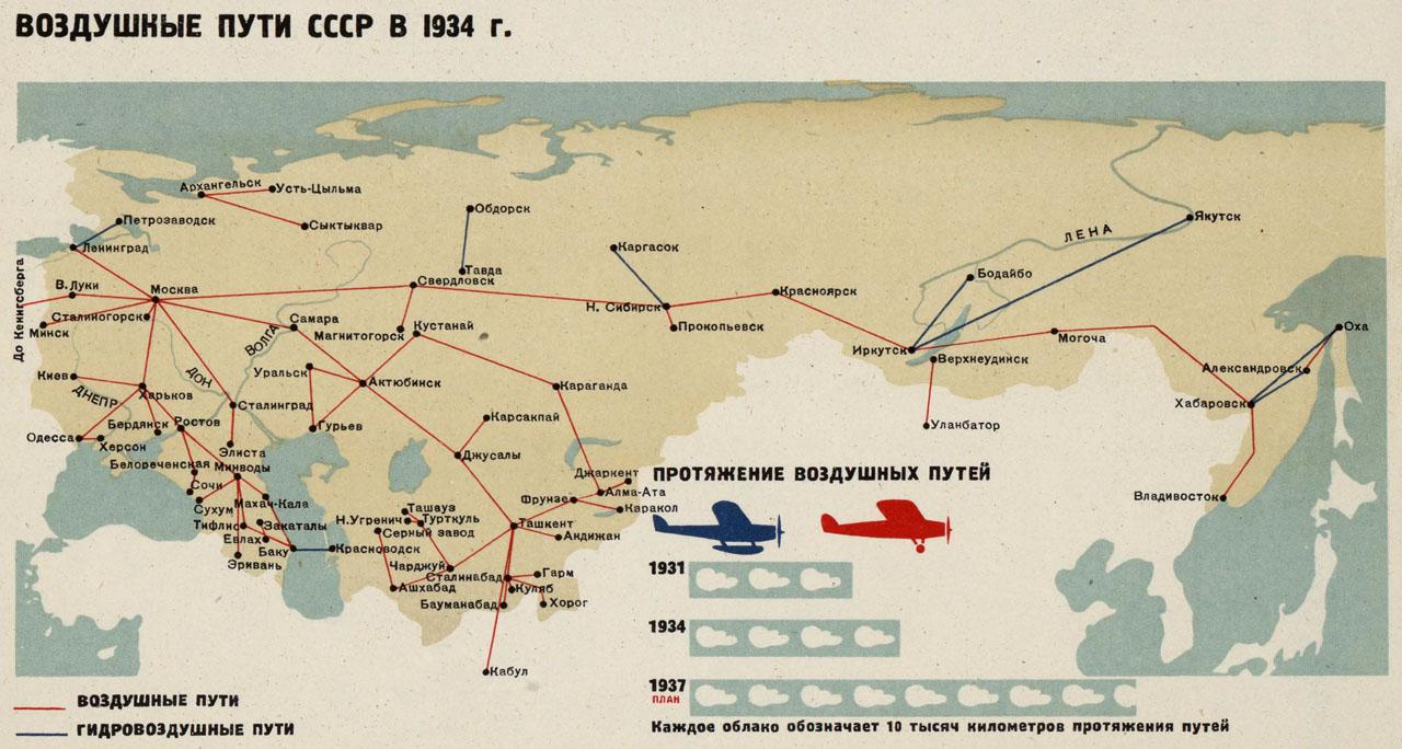 Схема авиарейсов СССР 1934 г.