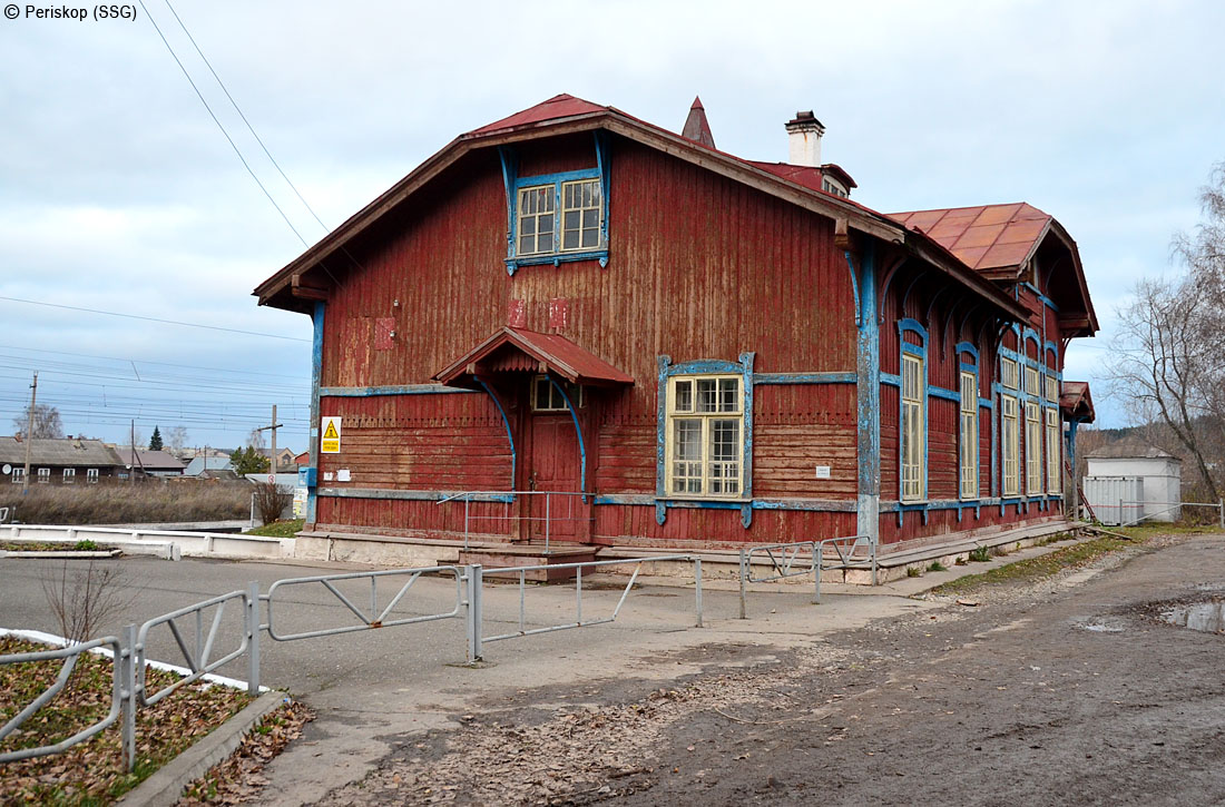 Вокзал в стиле деревянный модерн на станции Кишерть