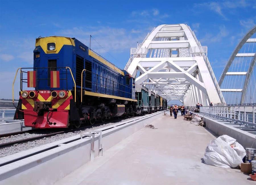 Стыковка железной дороги на Крымском мосту