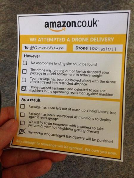Amazon Drone Delivery Notice