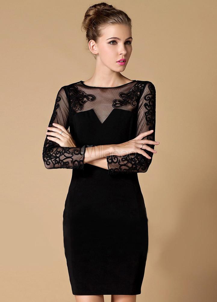 Черное платье с кружевами фото