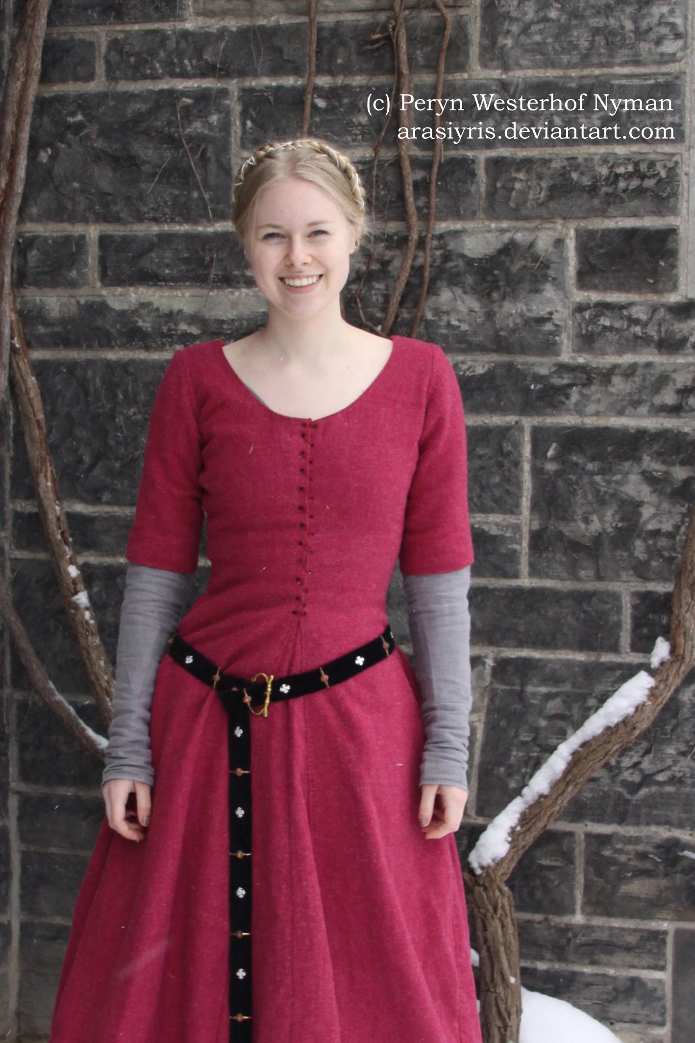 Raspberry Wool Cotehardie And Green Wool Hood Isabel